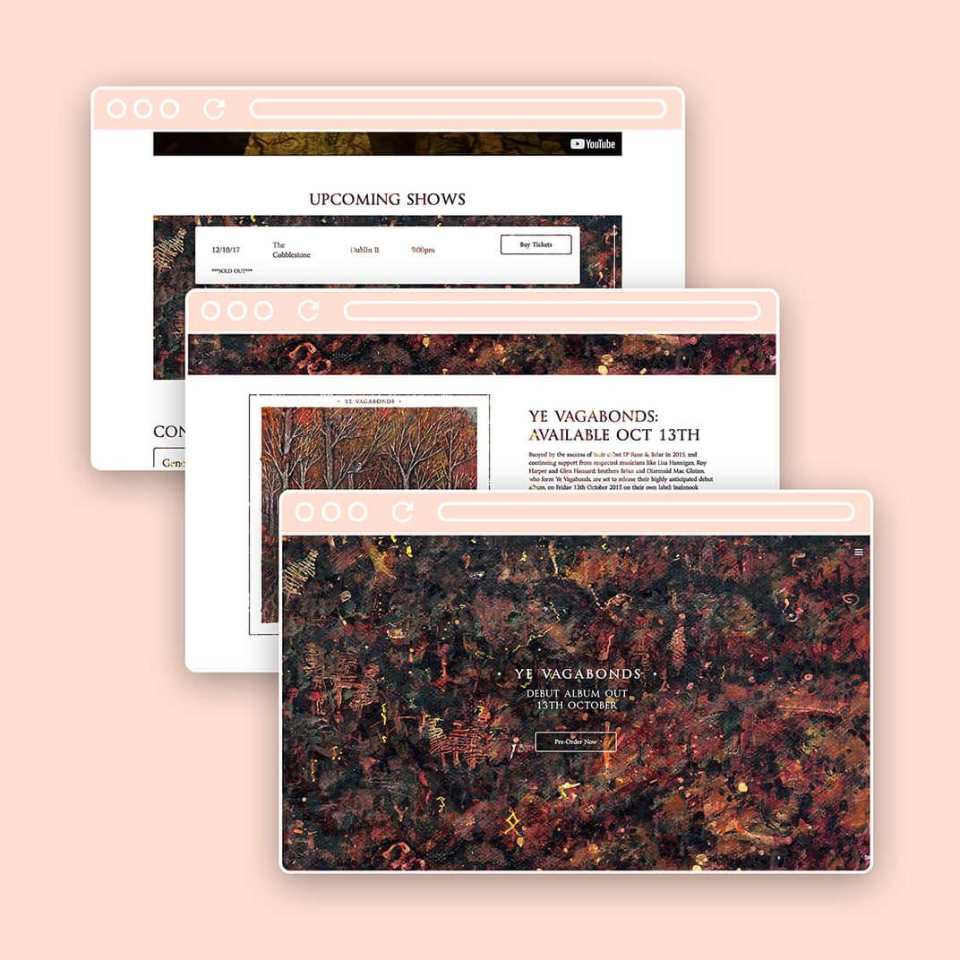 Ye Vagabonds website design screens
